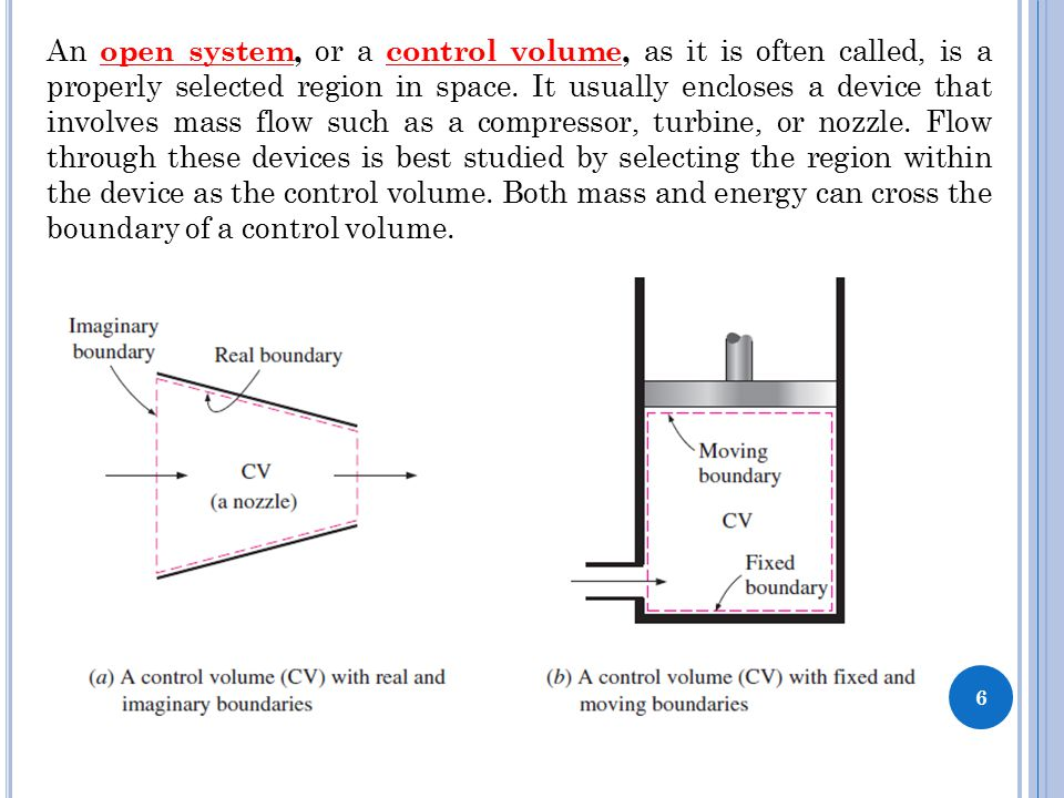 6 An open system, or a control volume, as it is often called, is a properly selected region in space. It usually encloses a device that involves mass