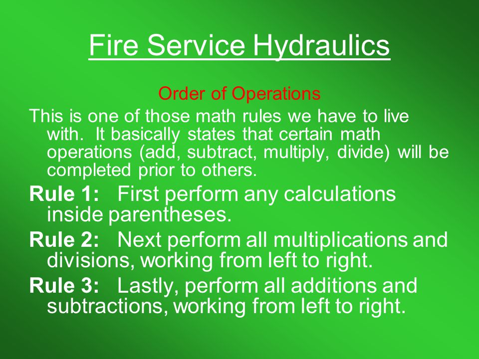 Fire Service Hydraulics Let's try a couple more square root problems with a calculator.
