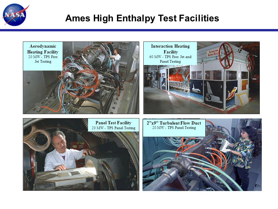 Ames High Enthalpy Test Facilities Panel Test Facility 20 MW - TPS Panel Testing Aerodynamic Heating Facility 20 MW - TPS Free Jet Testing Interaction