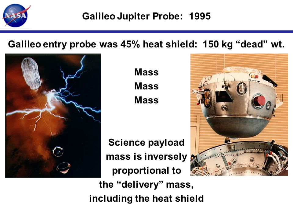 "INITIALS-5 Galileo entry probe was 45% heat shield: 150 kg ""dead"" wt. Mass Science payload mass is inversely proportional to the ""delivery"" mass, incl"