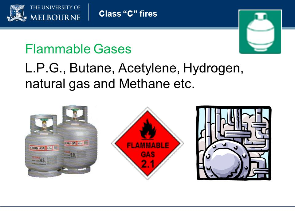 Class C fires Flammable Gases L.P.G., Butane, Acetylene, Hydrogen, natural gas and Methane etc.