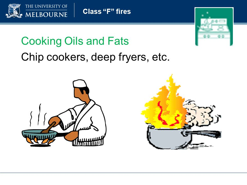 Class F fires Cooking Oils and Fats Chip cookers, deep fryers, etc.