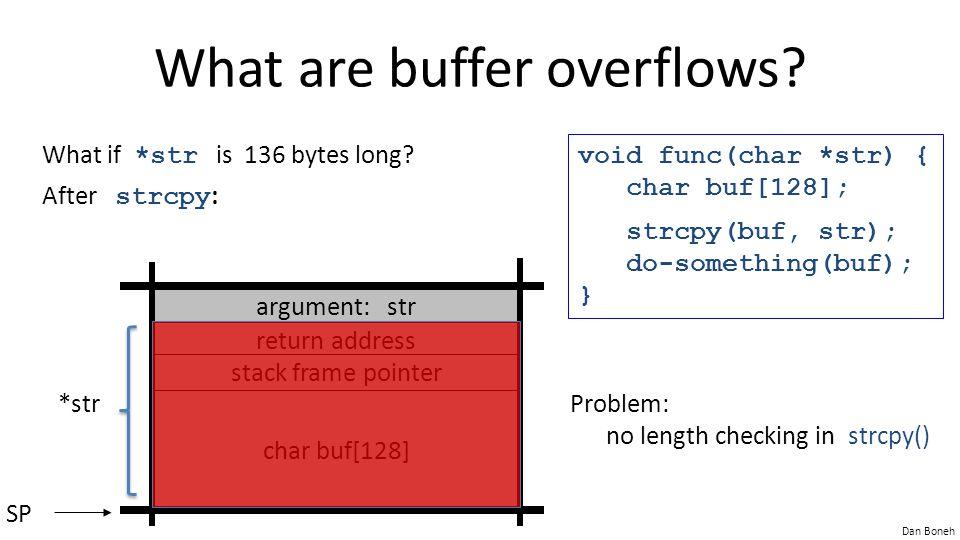 Dan Boneh An example void func( char *buf1, *buf2, unsigned int len1, len2) { char temp[256]; if (len1 + len2 > 256) {return -1}// length check memcpy(temp, buf1, len1);// cat buffers memcpy(temp+len1, buf2, len2); do-something(temp); // do stuff } What if len1 = 0x80, len2 = 0xffffff80 .