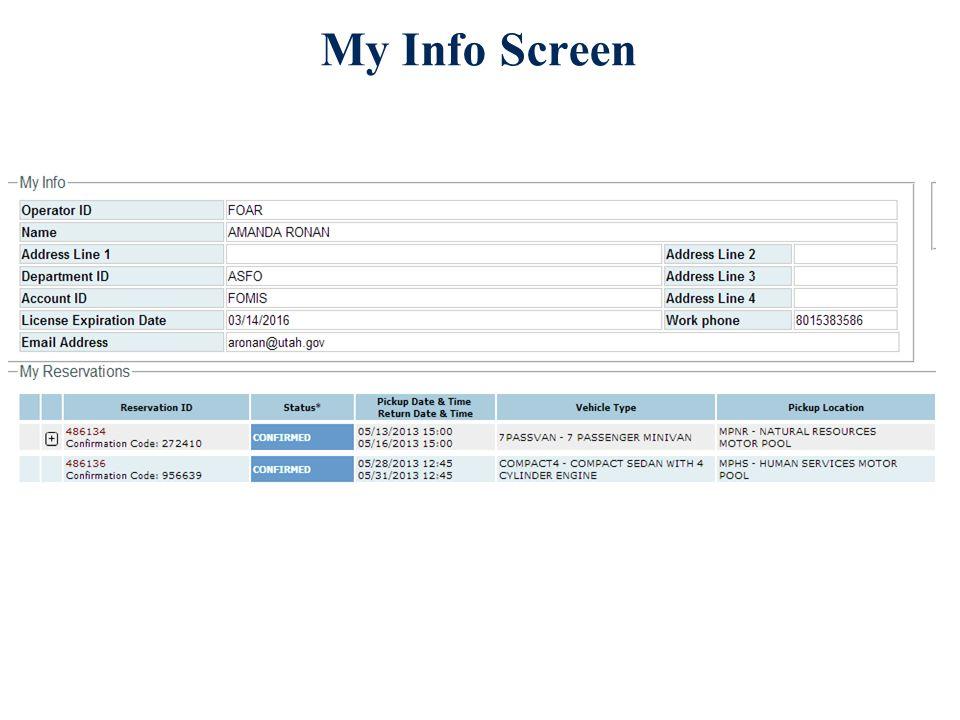 My Info Screen