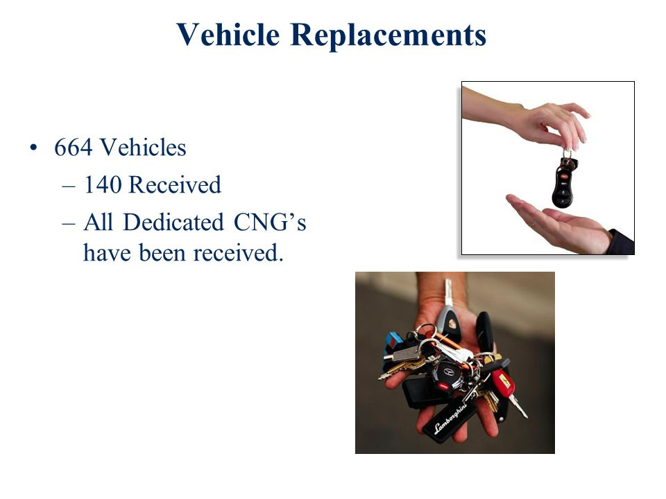 Vehicle Replacements 664 Vehicles –140 Received –All Dedicated CNG's have been received.
