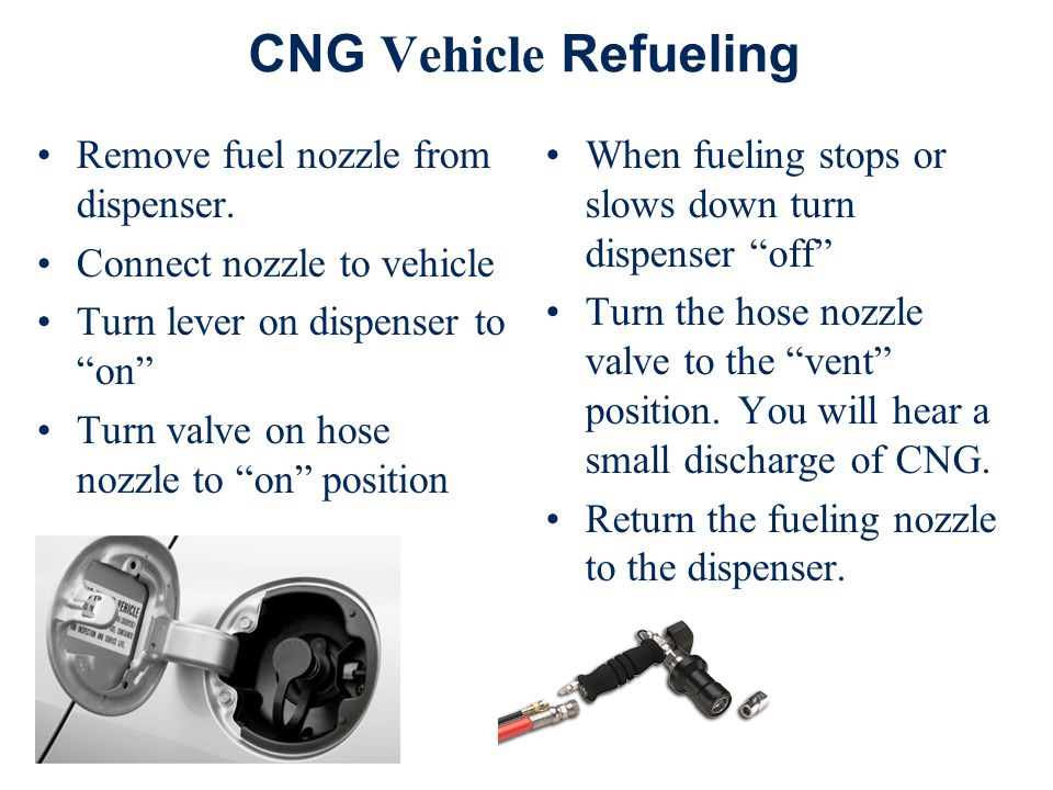 CNG Vehicle Refueling Remove fuel nozzle from dispenser.