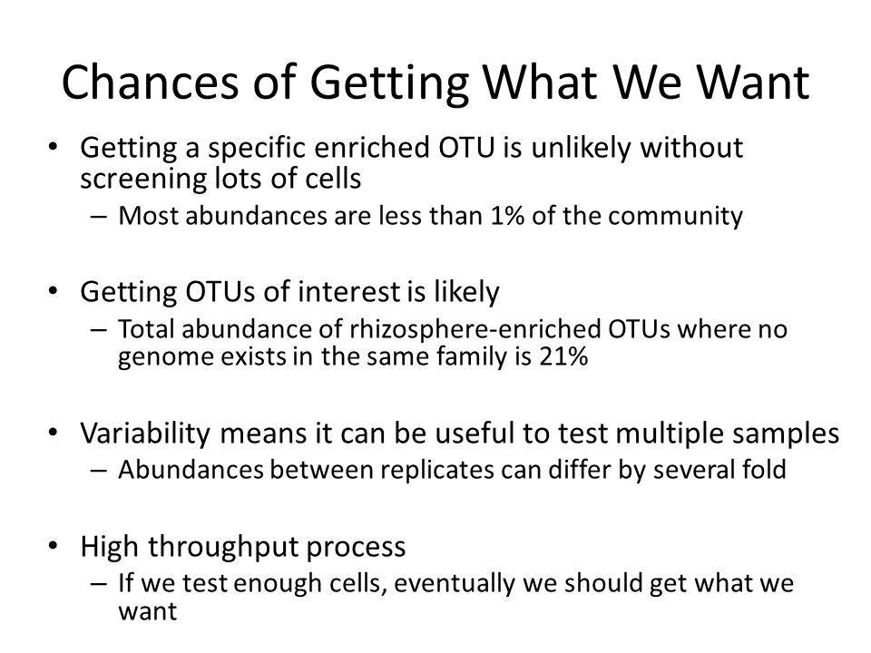 Chances of Getting What We Want Getting a specific enriched OTU is unlikely without screening lots of cells – Most abundances are less than 1% of the community Getting OTUs of interest is likely – Total abundance of rhizosphere-enriched OTUs where no genome exists in the same family is 21% Variability means it can be useful to test multiple samples – Abundances between replicates can differ by several fold High throughput process – If we test enough cells, eventually we should get what we want
