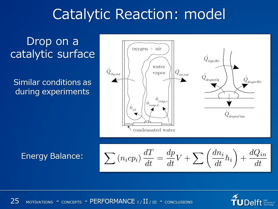 Catalytic Reaction: model 25 MOTIVATIONS - CONCEPTS - PERFORMANCE I / II / III - CONCLUSIONS Drop on a catalytic surface Similar conditions as during experiments Energy Balance: