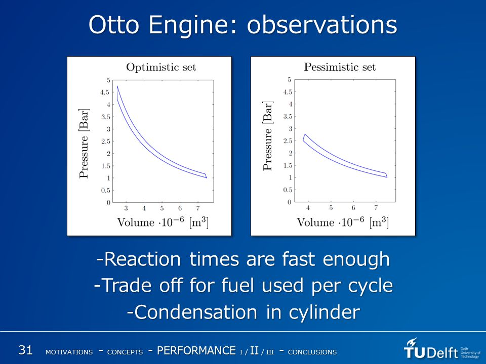 Otto Engine: observations -Reaction times are fast enough -Trade off for fuel used per cycle -Condensation in cylinder 31 MOTIVATIONS - CONCEPTS - PERFORMANCE I / II / III - CONCLUSIONS