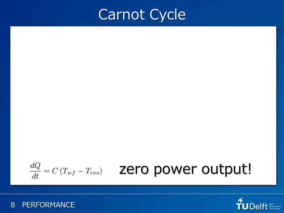 8 PERFORMANCE Carnot Cycle zero power output!