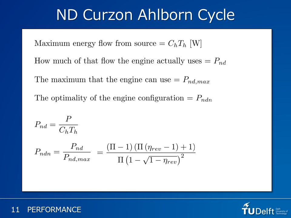 11 PERFORMANCE ND Curzon Ahlborn Cycle