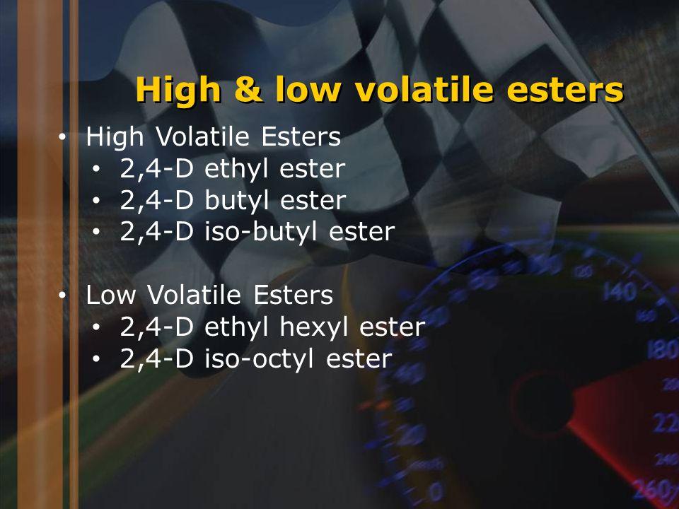 High & low volatile esters High Volatile Esters 2,4-D ethyl ester 2,4-D butyl ester 2,4-D iso-butyl ester Low Volatile Esters 2,4-D ethyl hexyl ester 2,4-D iso-octyl ester