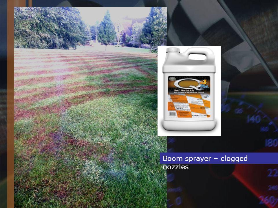Boom sprayer – clogged nozzles