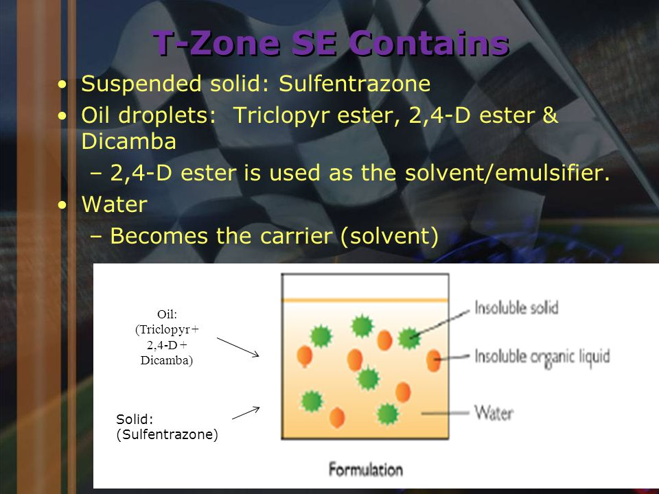 T-Zone SE Contains Suspended solid: Sulfentrazone Oil droplets: Triclopyr ester, 2,4-D ester & Dicamba –2,4-D ester is used as the solvent/emulsifier.