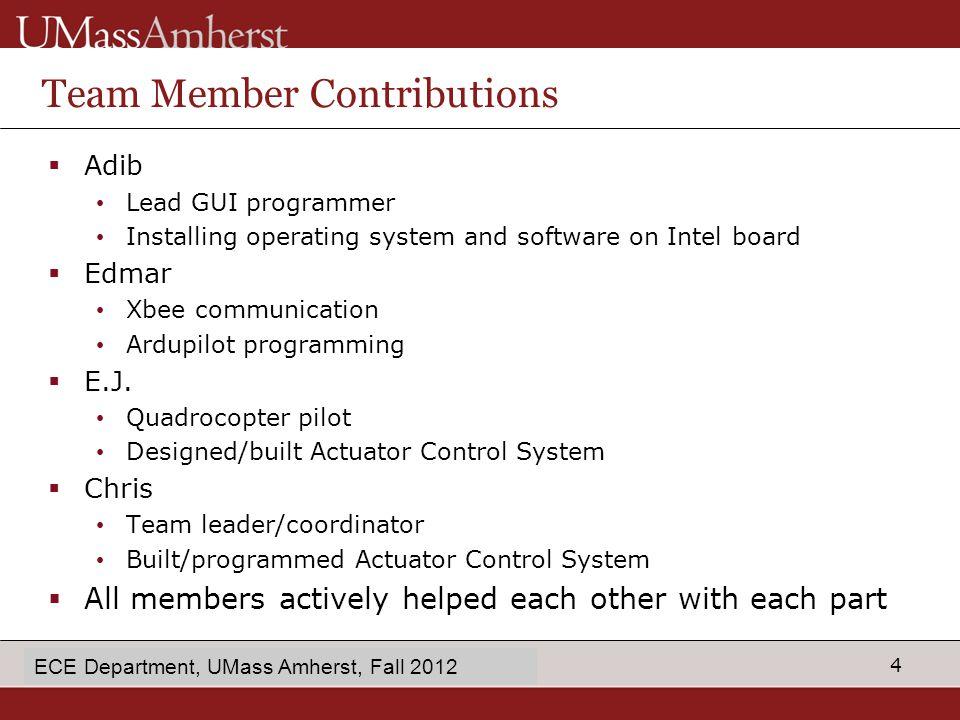 15 enter Dept name in Slide Master Extra Information ECE Department, UMass Amherst, Fall 2012