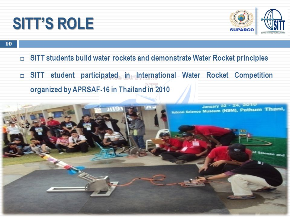 SITT'S ROLE  SITT students build water rockets and demonstrate Water Rocket principles  SITT student participated in International Water Rocket Comp