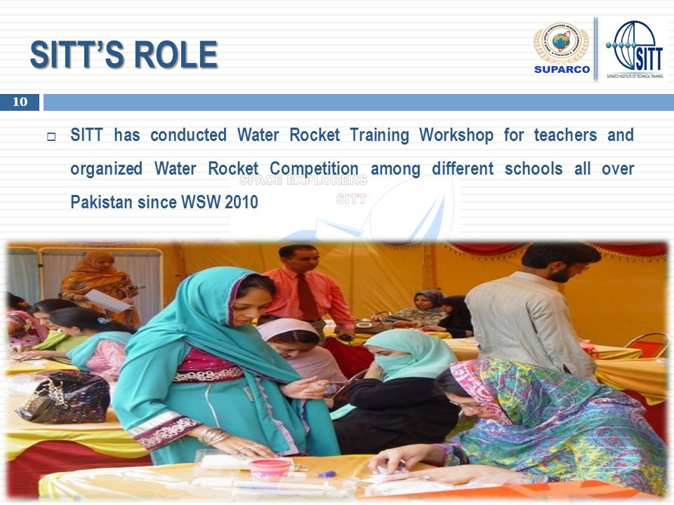 SITT'S ROLE  SITT has conducted Water Rocket Training Workshop for teachers and organized Water Rocket Competition among different schools all over P