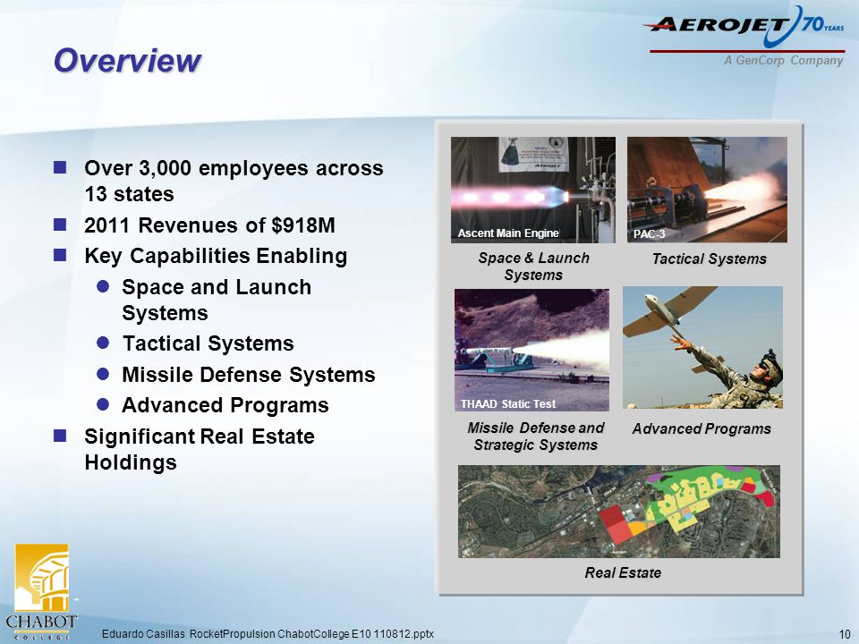 A GenCorp Company Overview Over 3,000 employees across 13 states 2011 Revenues of $918M Key Capabilities Enabling Space and Launch Systems Tactical Systems Missile Defense Systems Advanced Programs Significant Real Estate Holdings 10 Ascent Main Engine THAAD Static Test PAC-3 Tactical Systems Real Estate Advanced Programs Space & Launch Systems Missile Defense and Strategic Systems Eduardo Casillas RocketPropulsion ChabotCollege E10 110812.pptx