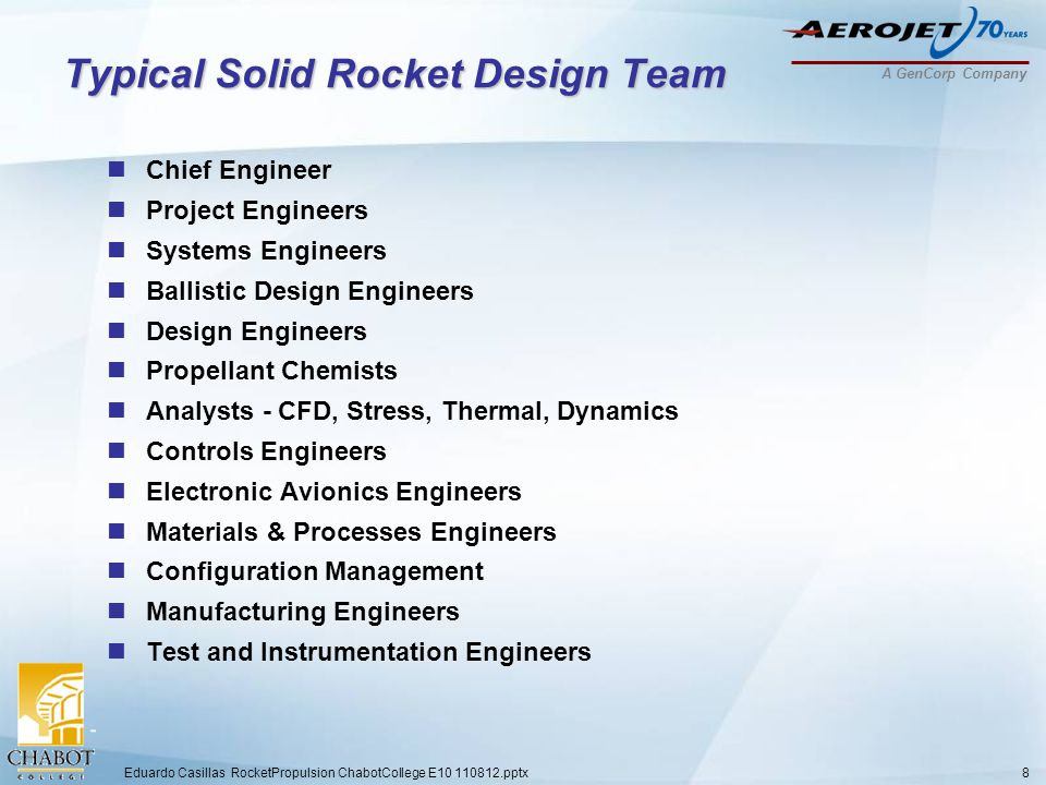 A GenCorp Company Typical Solid Rocket Design Team Chief Engineer Project Engineers Systems Engineers Ballistic Design Engineers Design Engineers Propellant Chemists Analysts - CFD, Stress, Thermal, Dynamics Controls Engineers Electronic Avionics Engineers Materials & Processes Engineers Configuration Management Manufacturing Engineers Test and Instrumentation Engineers Eduardo Casillas RocketPropulsion ChabotCollege E10 110812.pptx8