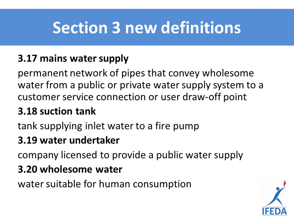 3.17 mains water supply permanent network of pipes that convey wholesome water from a public or private water supply system to a customer service conn