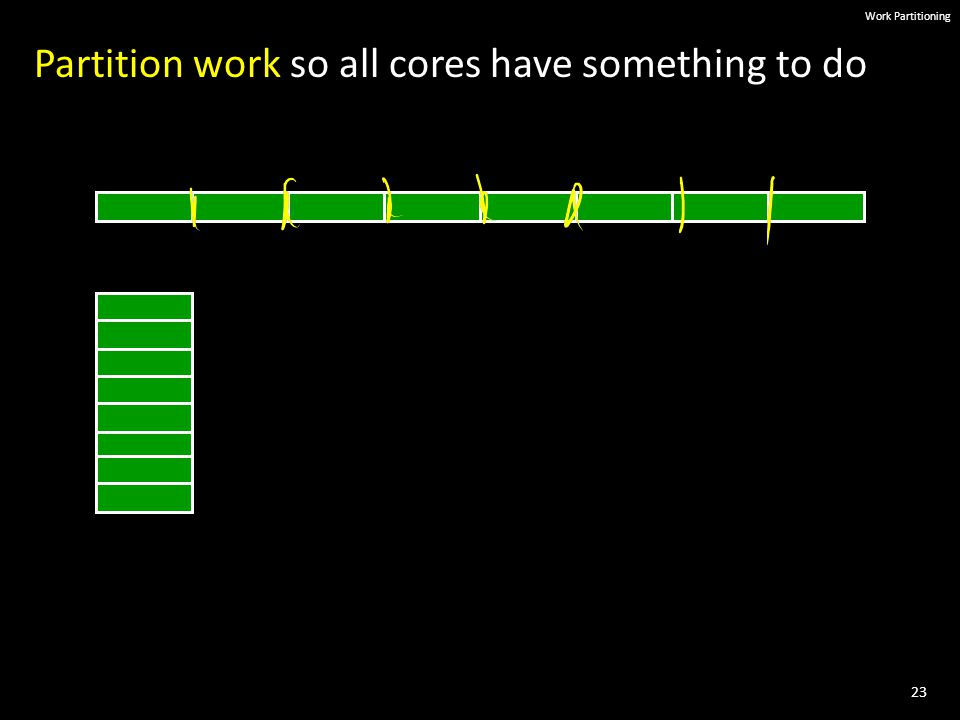 23 Work Partitioning Partition work so all cores have something to do