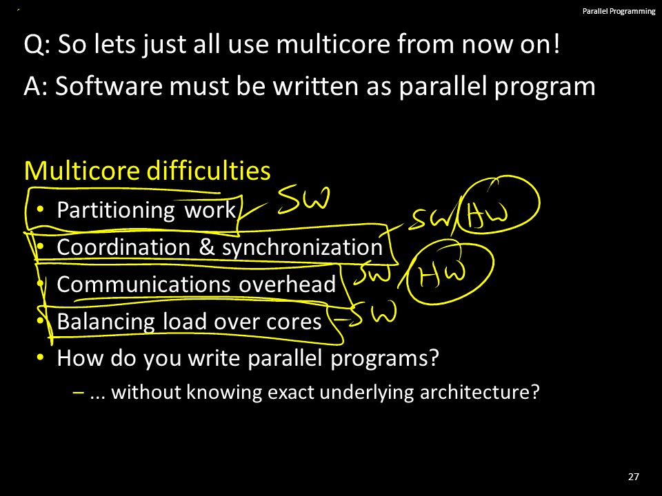 27 Parallel Programming Q: So lets just all use multicore from now on.