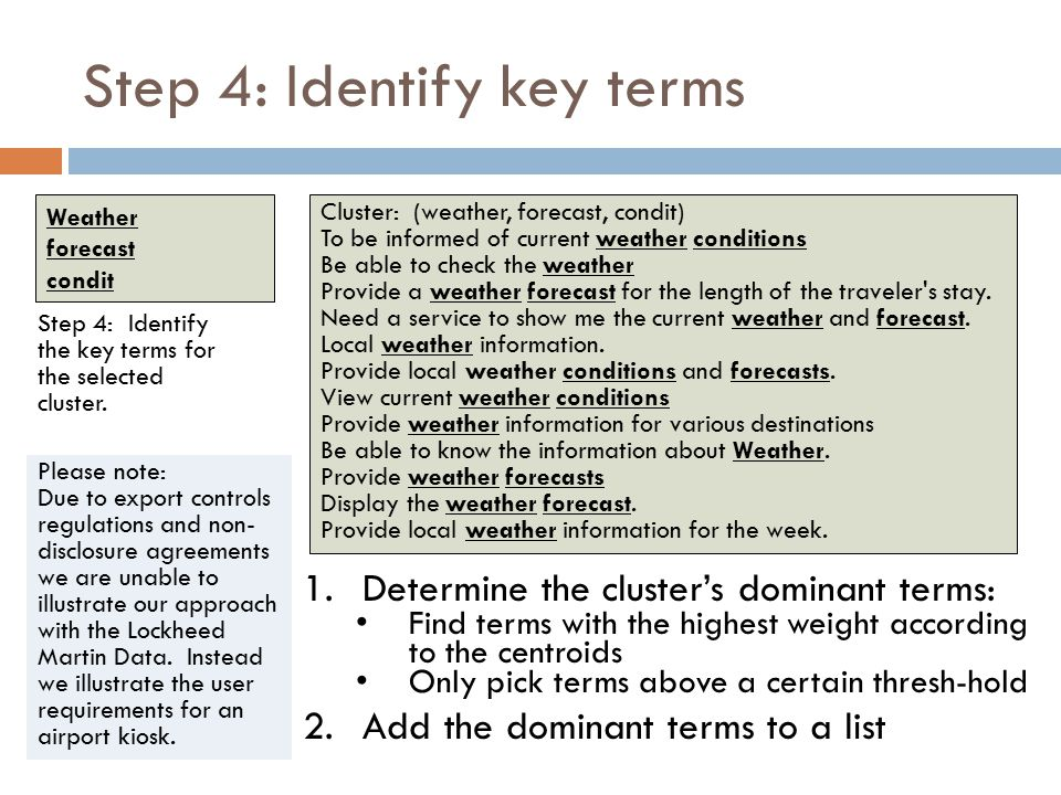 Step 4: Identify key terms 1.Determine the cluster's dominant terms: Find terms with the highest weight according to the centroids Only pick terms above a certain thresh-hold 2.Add the dominant terms to a list Step 4: Identify the key terms for the selected cluster.