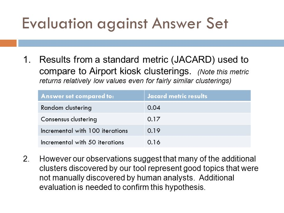 Evaluation against Answer Set 1.Results from a standard metric (JACARD) used to compare to Airport kiosk clusterings.