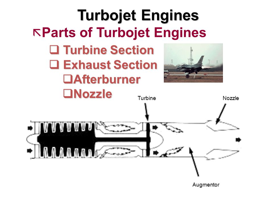 Turbojet Engines ã Parts of Turbojet Engines q Turbine Section q Exhaust Section qAfterburner qNozzle TurbineNozzle Augmentor