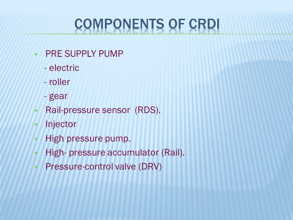  PRE SUPPLY PUMP - electric - roller - gear  Rail-pressure sensor (RDS).  Injector  High pressure pump.  High- pressure accumulator (Rail).  Pre