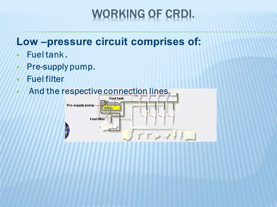 Low –pressure circuit comprises of:  Fuel tank. Pre-supply pump.