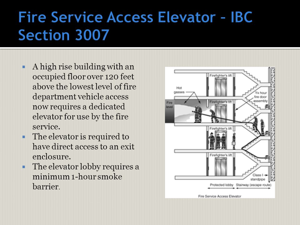  A high rise building with an occupied floor over 120 feet above the lowest level of fire department vehicle access now requires a dedicated elevator