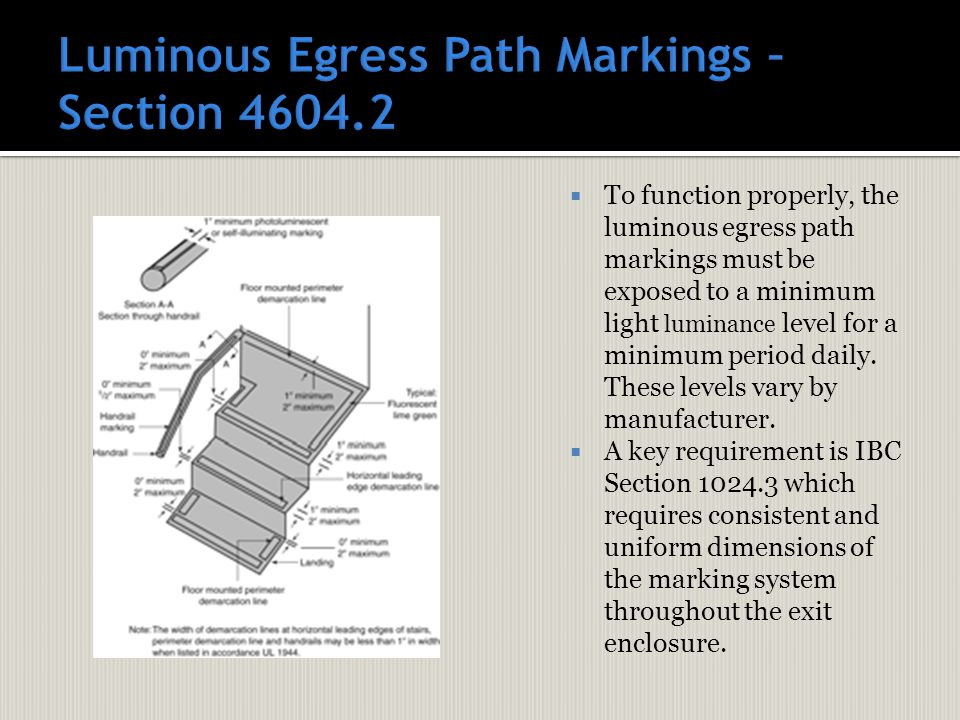 To function properly, the luminous egress path markings must be exposed to a minimum light luminance level for a minimum period daily. These levels