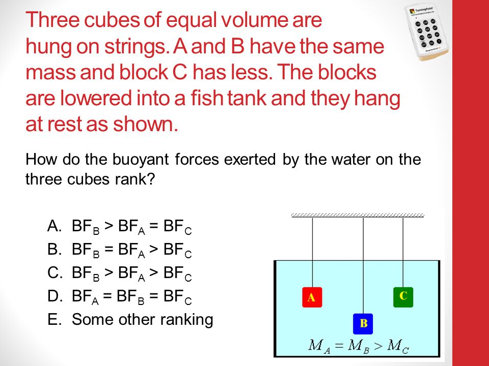 Three cubes of equal volume are hung on strings. A and B have the same mass and block C has less. The blocks are lowered into a fish tank and they han