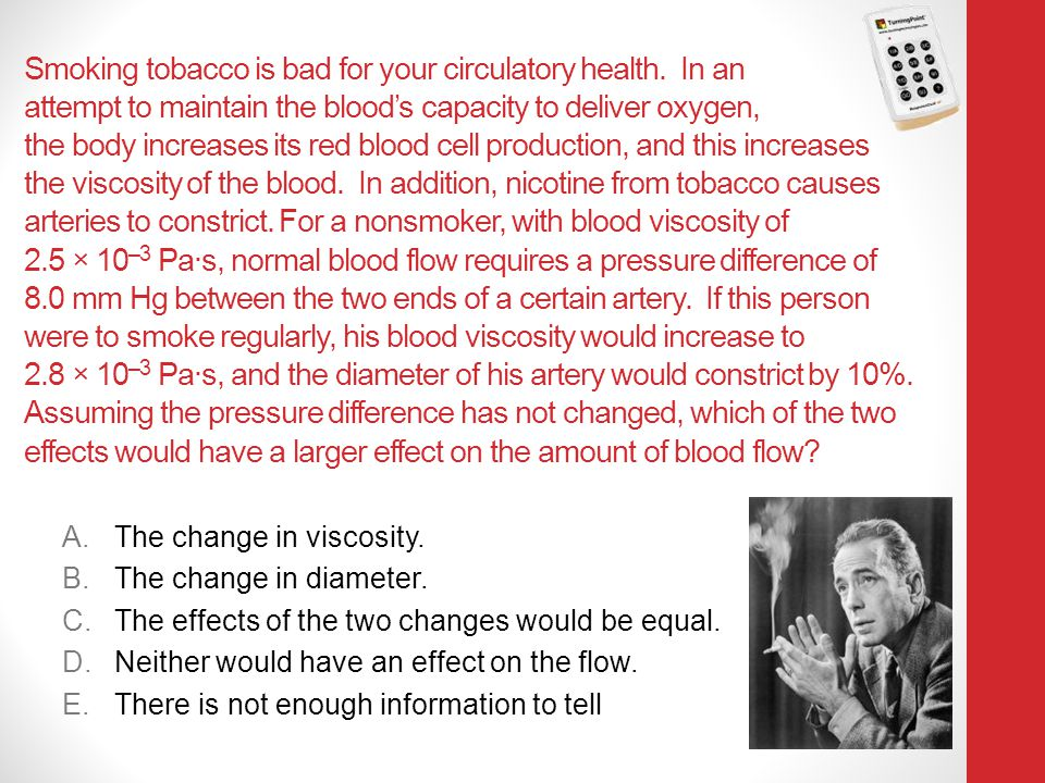 Smoking tobacco is bad for your circulatory health. In an attempt to maintain the blood's capacity to deliver oxygen, the body increases its red blood