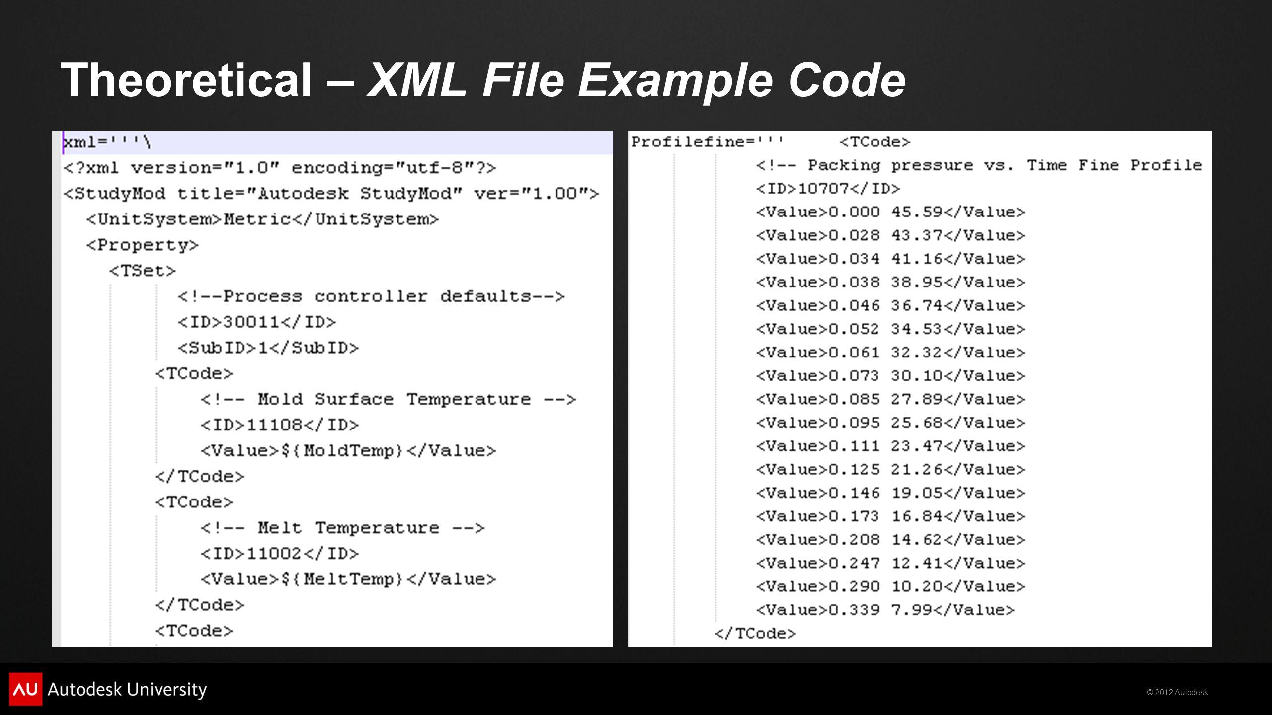 © 2012 Autodesk Theoretical – XML File Example Code