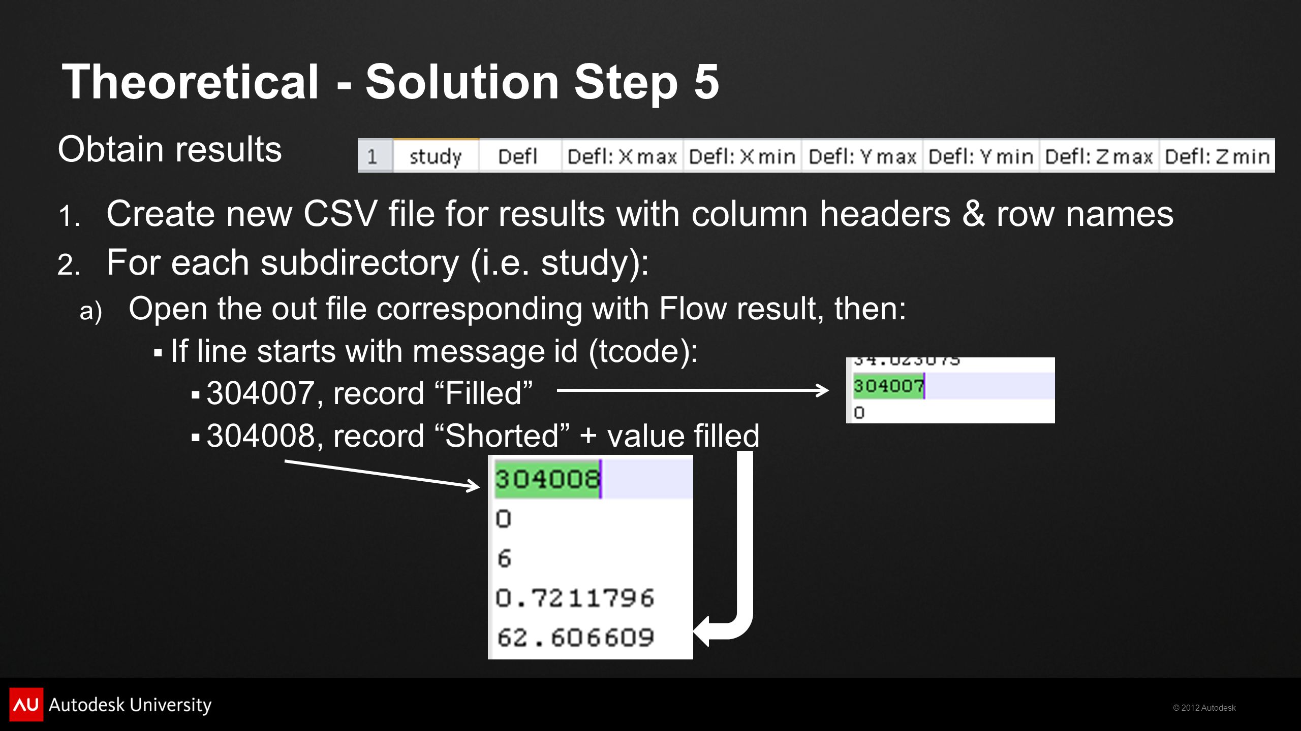 © 2012 Autodesk Obtain results 1. Create new CSV file for results with column headers & row names 2. For each subdirectory (i.e. study): a) Open the o
