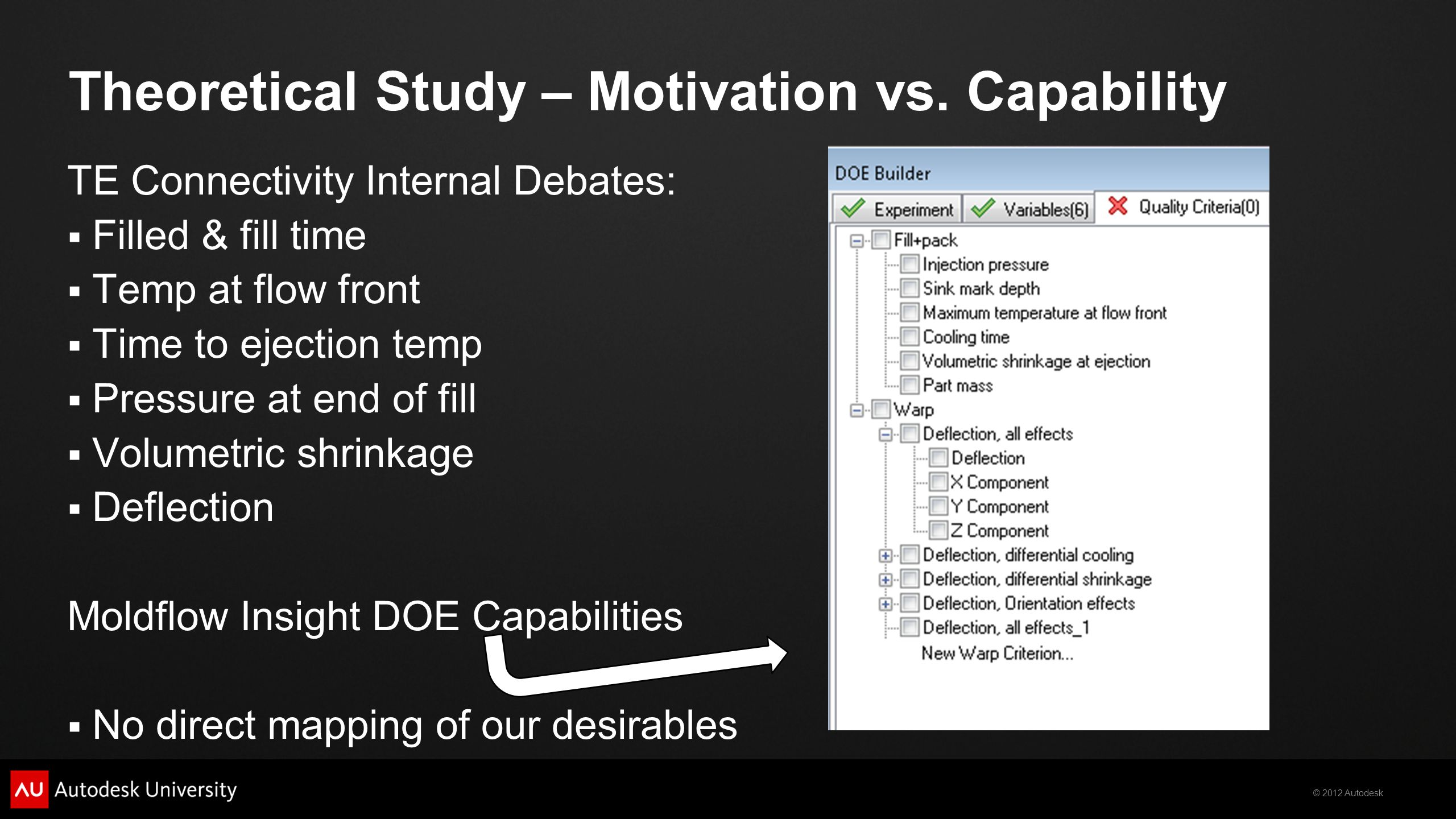 © 2012 Autodesk Theoretical Study – Motivation vs. Capability TE Connectivity Internal Debates:  Filled & fill time  Temp at flow front  Time to ej