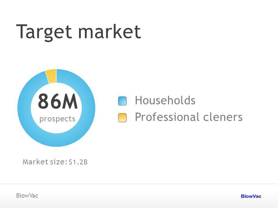 Target market BlowVac prospects 86M Market size: Households Professional cleners $1.2B