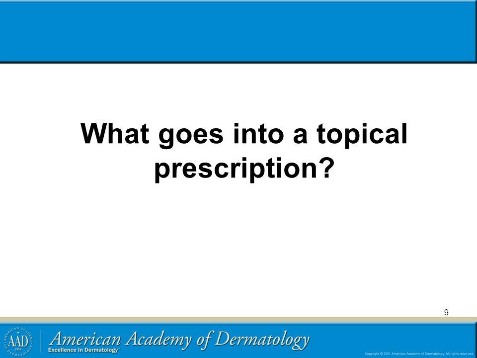 Topical prescriptions  What goes into a prescription.