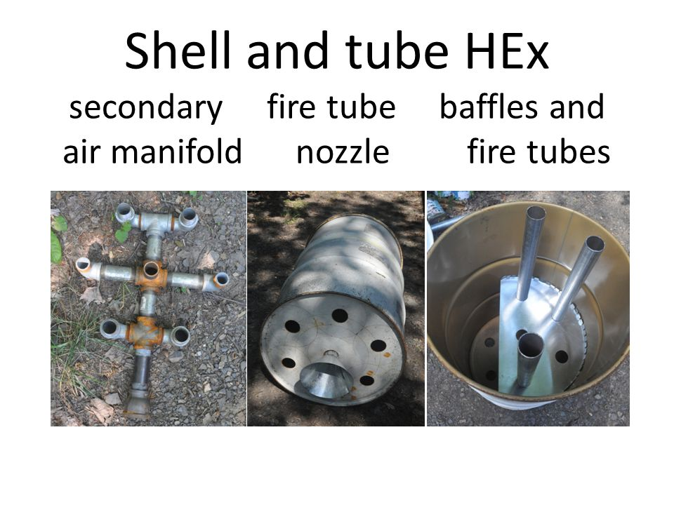 Shell and tube HEx secondary fire tube baffles and air manifold nozzle fire tubes