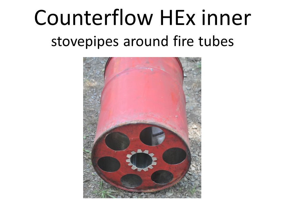 Counterflow HEx inner stovepipes around fire tubes