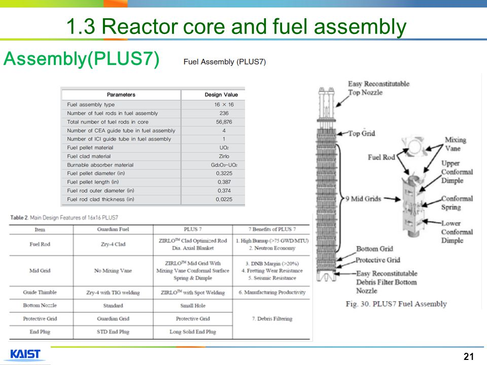 21 Assembly(PLUS7) 1.3 Reactor core and fuel assembly