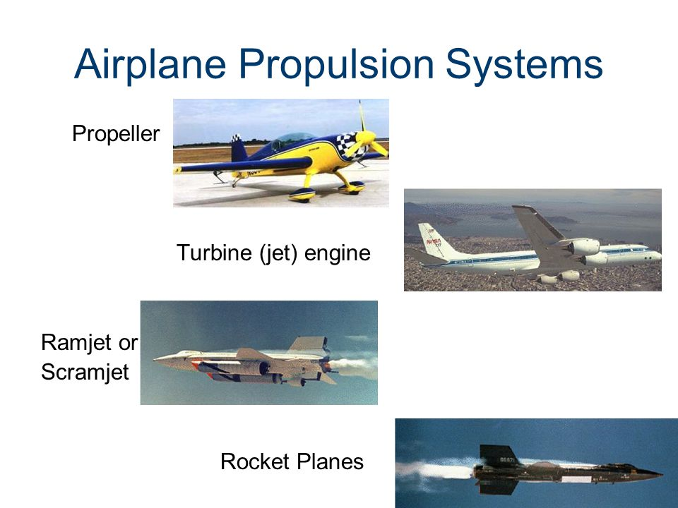 Airplane Propulsion Systems Propeller Turbine (jet) engine Ramjet or Scramjet Rocket Planes