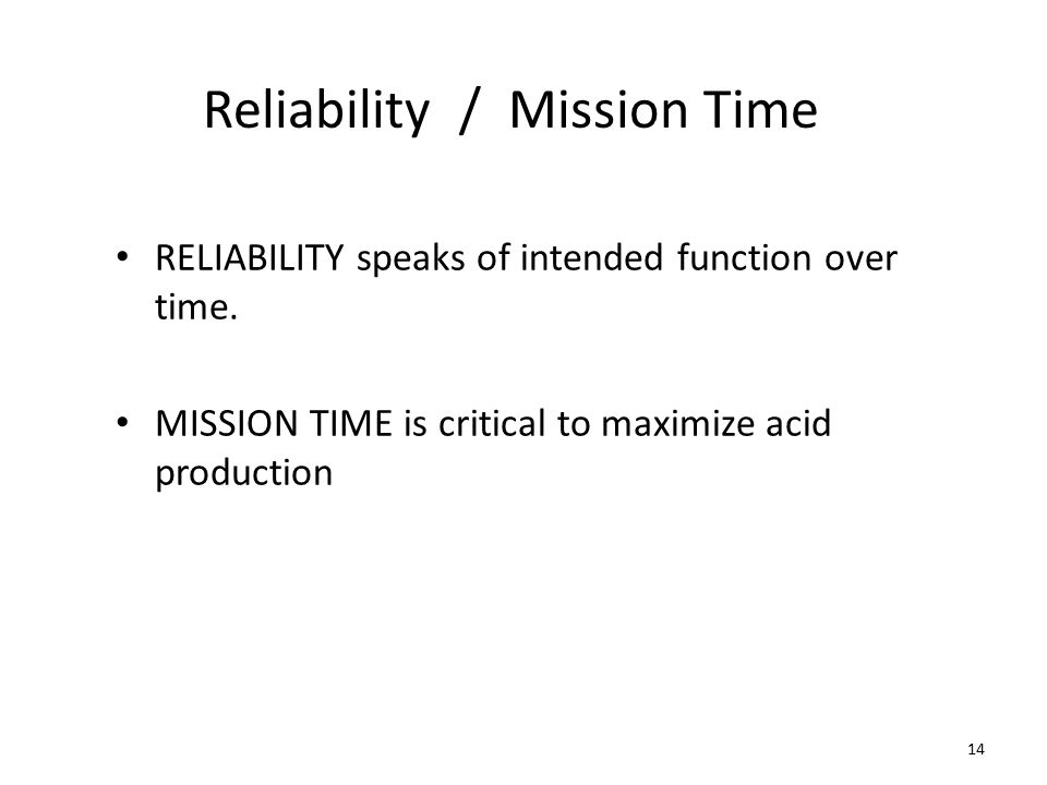 Reliability / Mission Time RELIABILITY speaks of intended function over time.