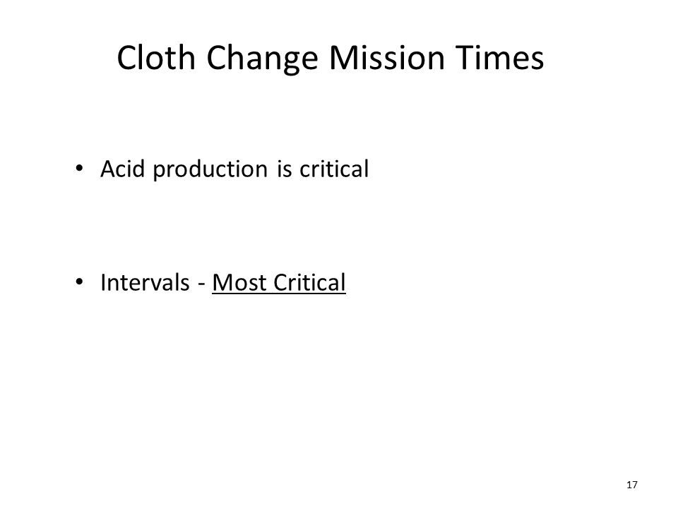 Cloth Change Mission Times Acid production is critical Intervals - Most Critical 17