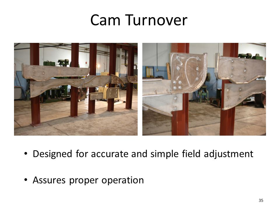 Cam Turnover Designed for accurate and simple field adjustment Assures proper operation 35