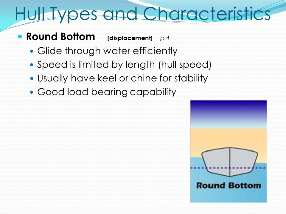 Hull Types and Characteristics Round Bottom [displacement] p.4 Glide through water efficiently Speed is limited by length (hull speed) Usually have keel or chine for stability Good load bearing capability