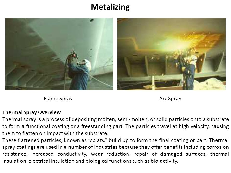 Metalizing Flame SprayArc Spray Thermal Spray Overview Thermal spray is a process of depositing molten, semi-molten, or solid particles onto a substrate to form a functional coating or a freestanding part.