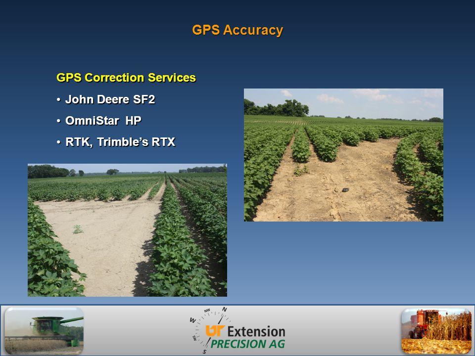 GPS Accuracy GPS Correction Services John Deere SF2John Deere SF2 OmniStar HPOmniStar HP RTK, Trimble's RTXRTK, Trimble's RTX